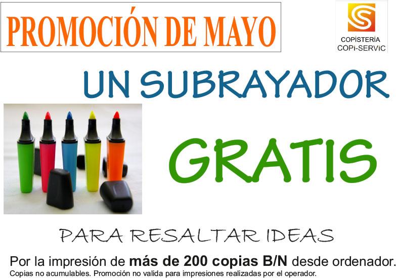 Subrayador GRATIS: Promoción de mayo en copistería Copi-Servic de Jaén